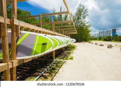 Miami, FL USA - June 25, 2018: Scenic view of the paddle boards ready for rental at the popular Oleta River State Park in North Miami Beach located along the bay.