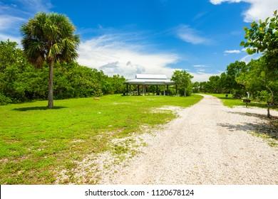 Miami, FL USA - June 25, 2018: Scenic view of the popular Oleta River State Park in North Miami Beach located along the bay.