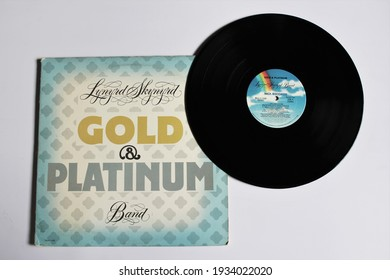 Miami, Fl, USA: March `11, 2021: Country, boogie rock and southern rock band, Lynyrd Skynyrd music album on vinyl record LP disc. Titled: Gold and Platinum