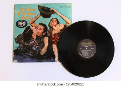 Miami, Fl, USA: March `11, 2021: Pop and folk rock band, The Mamas and The Papas, music album on vinyl record LP disc. Titled: Deliver