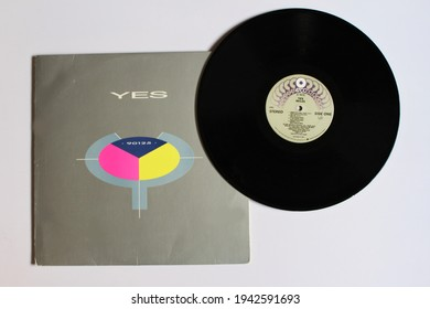 Miami, FL USA: March 24, 2021: English Pop Rock and new wave band, Yes music album on vinyl record LP disc. Titled: 90125