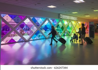 Miami, Fl, USA - March 24, 2017: Colorful windows in the Miami International Airport. Florida, United States