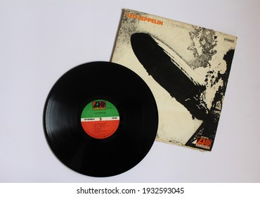 Miami, Fl, USA: March 9, 2021: Hard rock and Blues rock band, Led Zeppelin music album on vinyl record LP disc. Self titled: Led Zeppelin