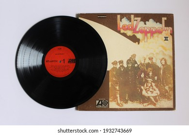 Miami, Fl, USA: March 9, 2021: Hard rock and Heavy Metal band, Led Zeppelin music album on vinyl record LP disc. Titled: Led Zeppelin II