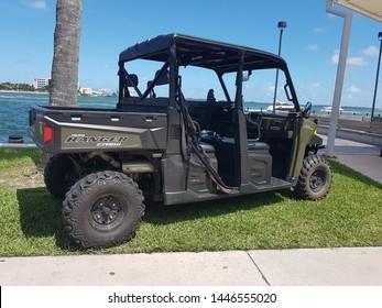 Miami, FL, USA - May 11, 2019: 2015 Polaris RANGER CREW 570 EFI parked at Bayside Downtown Miami.