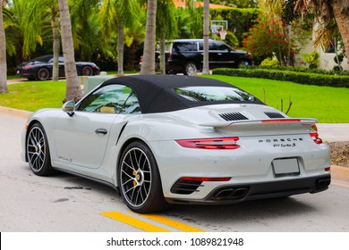 MIAMI, FL, USA - MAY 12, 2018: Image rear quarter new 2018 Porsche Turbo 911 S