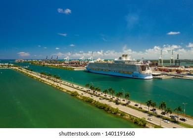 MIAMI, FL, USA - MAY 15, 2019: Aerial video Symphony of the Seas at Port Miami FL