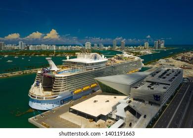 MIAMI, FL, USA - MAY 15, 2019: Aerial photo Royal Caribbean Symphony of the Seas at Port of Miami FL