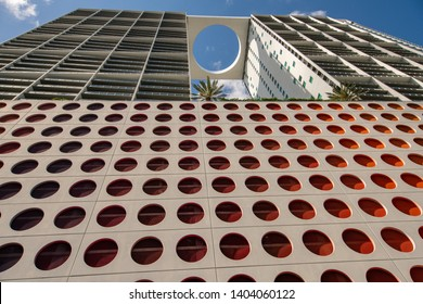 MIAMI, FL, USA - MAY 19, 2019: 500 Brickell Avenue residential apartment building with 1st floor retail