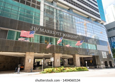 MIAMI, FL, USA - MAY 19, 2019: Image of the JW Marriott Marquis Hotel Downtown Miami FL