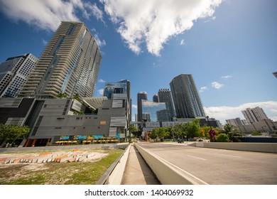 MIAMI, FL, USA - MAY 19, 2019: Wide angle photo of Brickell City Centre Downtown Miami FL
