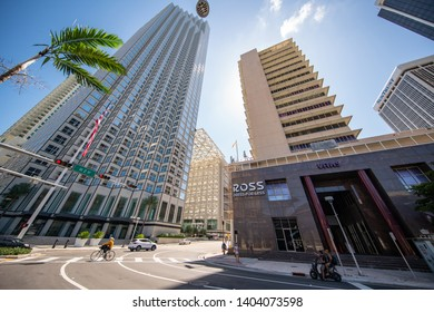 MIAMI, FL, USA - MAY 19, 2019: Highrise buildings at Downtown Miami FL
