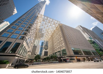 MIAMI, FL, USA - MAY 19, 2019: Business complex Downtown Miami FL skyscraper