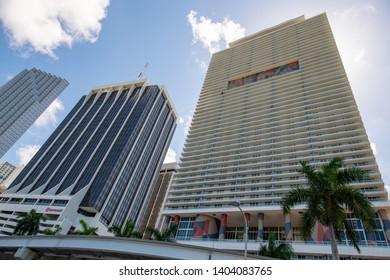 MIAMI, FL, USA - MAY 19, 2019: Highrise condos Downtown Miami FL