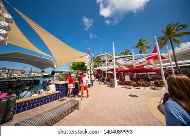MIAMI, FL, USA - MAY 19, 2019: Image of tourists at Bayside Marketplace Miami FL