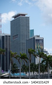 MIAMI, FL, USA - MAY 19, 2019: Highrise buildings with advertising banners Downtown Miami FL