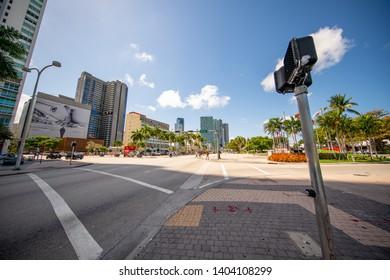 MIAMI, FL, USA - MAY 19, 2019: Biscayne Boulevard Downtown Miami FL
