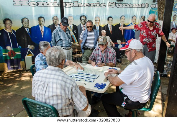 Miami, FL, USA â?? May 23rd, 2014: Elderly people playing domino at little havana miami