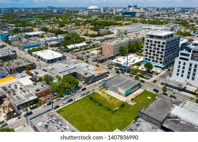 MIAMI, FL, USA - MAY 24, 2019: Aerial image of Wynwood Miami FL USA