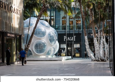 MIAMI, FL, USA - NOVEMBER 11th, 2017: Miami Design District Fashion Stores during fall and Christmas preparation time