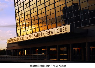 Miami, FL, USA November 30, 2008 The setting sun is reflected in the glass curtain wall of the Ziff Ballet and Opera House in Miami, Florida