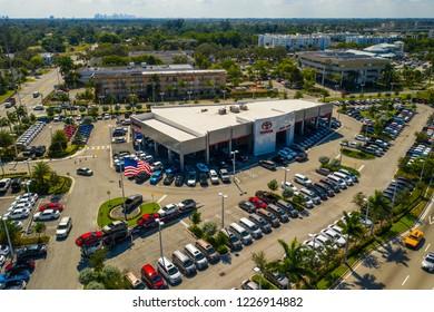 MIAMI, FL, USA - NOVEMBER 5, 2018: Aerial photo Toyota dealer dealership North Miami Florida