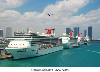 Miami, FL, USA- November 7, 2008: Cruise ships docked in Miami port. Miami port one of the biggeest passanger port in USA. In the front of this picture the Carnival Ships.