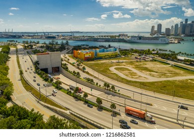 MIAMI, FL, USA - OCTOBER 27, 2018: Aerial drone image of the Macarthur Causeway and Port Tunnel