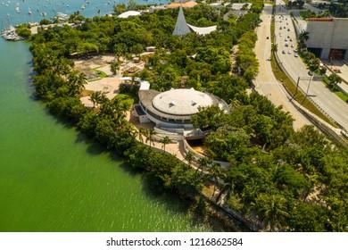MIAMI, FL, USA - OCTOBER 27, 2018: Aerial drone photo Jungle Island Miami