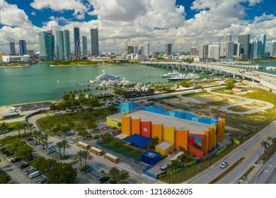 MIAMI, FL, USA - OCTOBER 27, 2018: Aerial shot of the Miami Children Museum drone photo