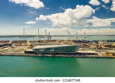 MIAMI, FL, USA - OCTOBER 27, 2018: Aerial drone photo Royal Caribbean terminal at Port Miami