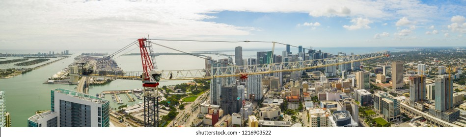 MIAMI, FL, USA - OCTOBER 28, 2018: Aerial panorama of an Allegiance construction crane on site Downtown Miami Florida