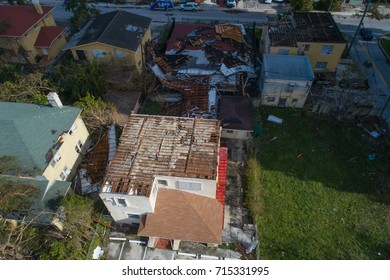 MIAMI, FL, USA - SEPTEMBER 11, 2017: Aerial image of homes destroyed by Hurricane Irma