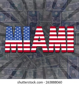 Miami flag text on dollars sunburst illustration