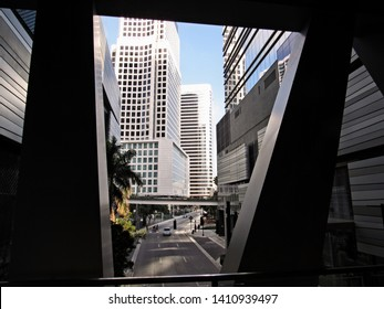 Miami, Fla./USA-2/5/18: Skyscrapers along 7th St., S.W., downtown, as seen from within Brickell City Centre, a shopping complex that spans two city blocks.