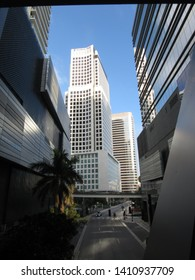 Miami, Fla./USA-Feb. 5, 2018: The skyscraper at 600 Brickell Ave. as seen from a pedestrian walkway over 7th Street S.W.