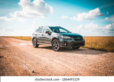 Miami, Florida - 11 02 2020: 2021 Subaru Crosstrek Sport on dirt road in the Everglades.