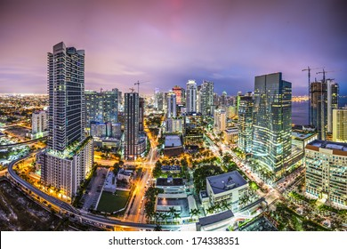 Miami, Florida aerial view of downtown.