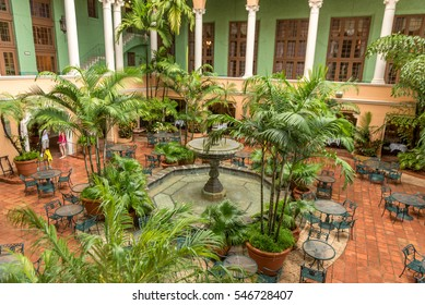 MIAMI, FLORIDA - APRIL 29, 2015: Biltmore Hotel Miami Coral Gables. Tables Outside,