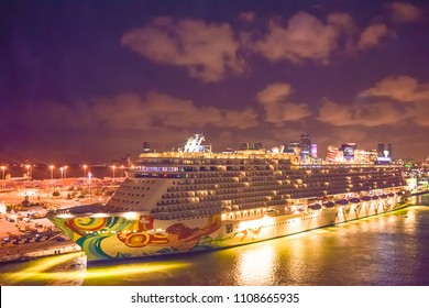 Miami, Florida - April 4 2014: Norwegian Getaway Cruise Ship at sunrise in the Port of Miami.