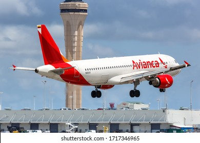 Miami, Florida – April 7, 2019: Avianca Airbus A320 airplane at Miami airport (MIA) in Florida. Airbus is a European aircraft manufacturer based in Toulouse, France.
