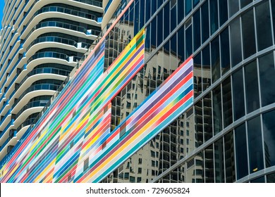 Miami, Florida - August 17, 2017: Close up view of the completed construction of the colorful Brickell Heights residential building in the popular downtown Brickell area.