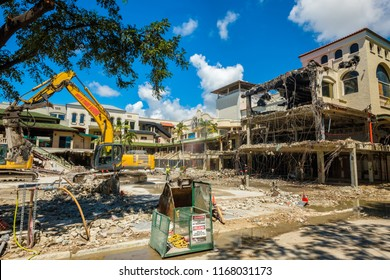 Miami, Florida - August 21, 2018:  Construction project underway in the popular Cocowalk shopping and dining area in Coconut Grove.