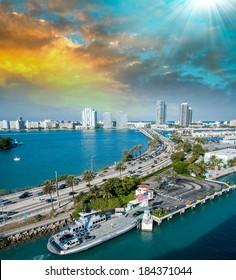Miami, Florida. Beautiful view of coastline.