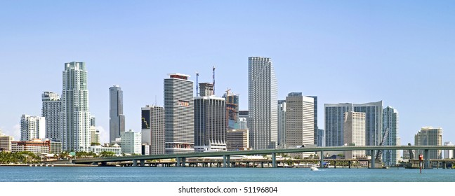 Miami Florida business buildings and downtown urban architecture panorama
