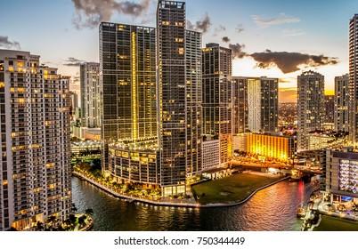 Miami, Florida, December 2010 - Miami downtown (brickell area) at dusk