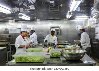 MIAMI, FLORIDA - December 21, 2015: Kitchen staff on cruise ships, including chefs and cooks, work some of the hardest and longest hours as the kitchens are in operation 24 hours a day.