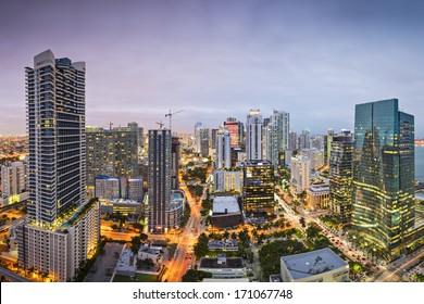 Miami, Florida downtown aerial cityscape.