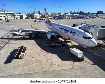 MIAMI, FLORIDA - FEBRUARY 16, 2018: Photo of a Boeing 737-800 Smart Wings in Miami airport.