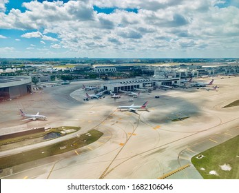 MIAMI, FLORIDA, FL - MARCH 1, 2019: American airlines planes, aircrafts on ramp in Miami International Airport, based in Dallas, TX. Aeral view.